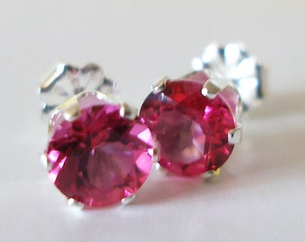 Pink Topaz Earrings, Pink Studs, Bridesmaids Gifts