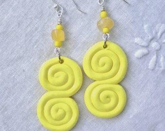 Earrings Lemonade Yellow Swirl Handmade Polymer Clay Beads
