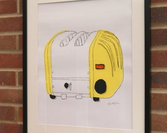 A2 Silk Screen Print of Classic Toaster in Yellow