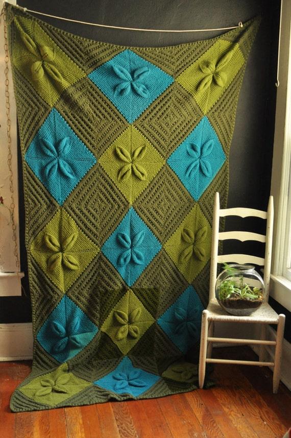 Vintage Afghan Blanket Green and Teal Diamond Bed Spread