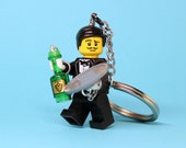Waiter Keychain - made from Series 9 LEGO (r) Minifigure