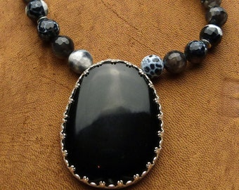 Black Agate and Fire Agate Necklace in Sterling Silver