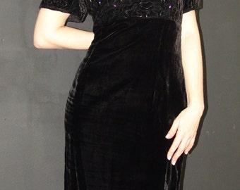 Vintage Black Velvet DRESS with Beaded Top, Santa Fe by Jim Tremblay, 1980s