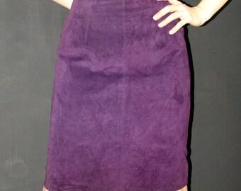 Vintage Purple Suede SKIRT, Lanna. 1980s
