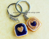 Peanut Butter and Jelly Grape Heart best friend key chains bff polymer clay Valentine's Day