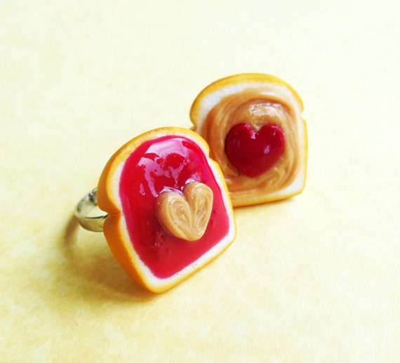 jam peanut butter and jelly best friend rings bff polymer clay HEARTS ...