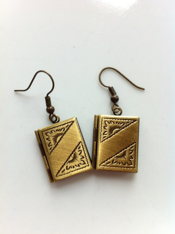 Brass Book Earrings