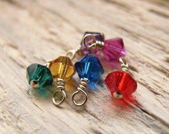 Birthstone Gold Charm.  Swarovski charms, Swarovski Crystal Pendant for Personalized Necklace, Bracelet. Dangles Red, Emerald, Blue, Pink