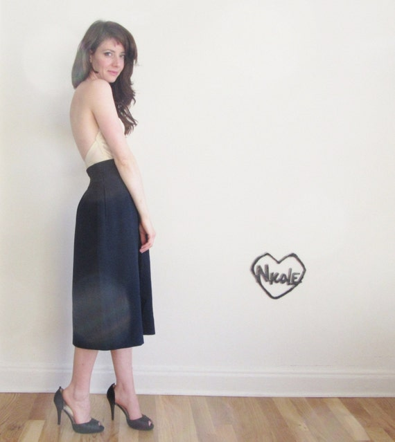 high waist navy wool skirt made in west germany medium