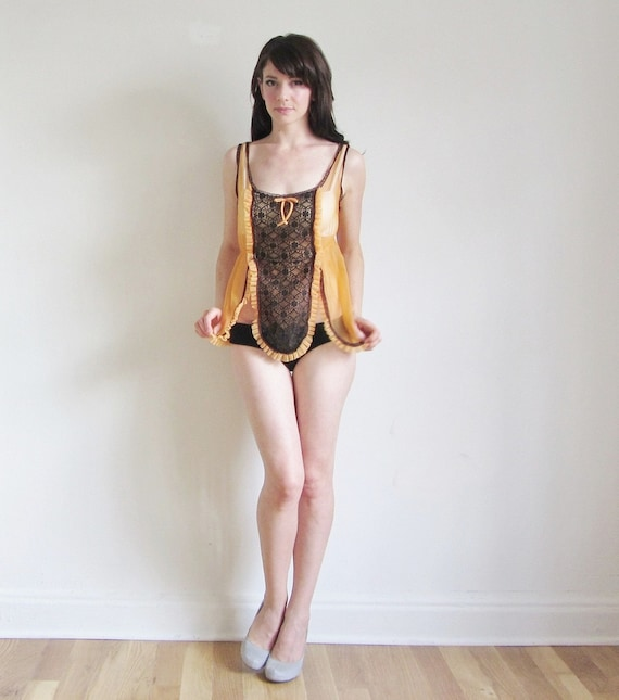 french maid lingerie, halloween style . orange black sheer lace chemise .small.medium .sale
