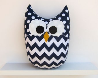 Navy Blue Chevron Owl Pillow Nursery Decor