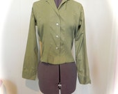 Vintage 50s Green Cotton Pin Pleat Top with Button Loop M -on sale - maybel57