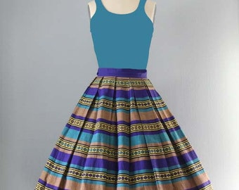 Vintage 1950s circle Skirt / 50s Striped Wasp Waist Full Swing Skirt Sm XS Sm - on sale
