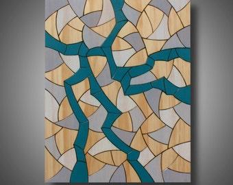 "11.25"" x 14"" - Pyrography on Pine - Modern Abstract Art - Original Design - Contemporary Home Decor - Prismacolor Pencil - ""Sea Change"""