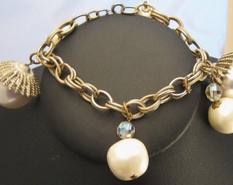 Vintage Pearl Wedding Bracelet Acorn Dangling Charms