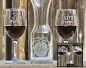 Wedding Unity Candle Alternative, Wine Unity Set of Personalized Etched Glasses & Wine Carafe