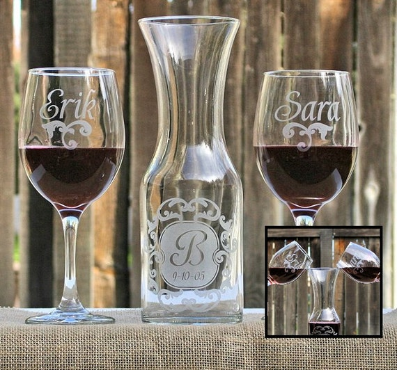 Wedding Unity Candle Alternative Wine Unity Set Of Personalized Etched Glasses Amp Wine Carafe