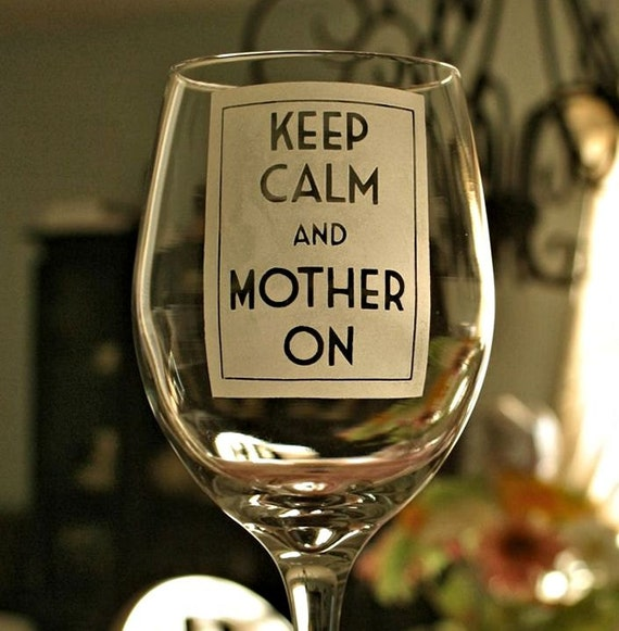 Etched Wine Glass, Big 20 oz Keep Calm and Mother On - Vino,Grandma Gift, Gift for Her, Gift for Mom