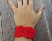 Crochet bracelet, red, 100% soft cotton (B3)