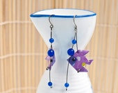 Origami earrings fish in purple with agate eco-friendly jewelry