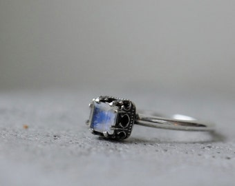 Rainbow moonstone ring. Sterling silver ring with square stone. Made to order
