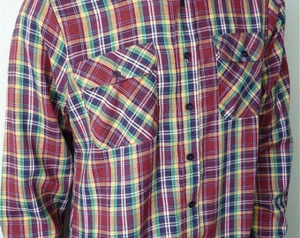 Vintage Men's 80's Burgundy, Plaid Shirt, Long Sleeve, Button Down by Montgomery Ward (L)