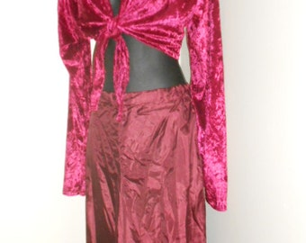 Egyptian Tribal Fusion Bellydance Dark Rose and Maroon Tie Top Choli and Harem Pants Set- 007