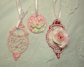 Shabby Pink Rose Christmas Ornaments Vintage Victorian Cottage Style Shabby Chic set of 3