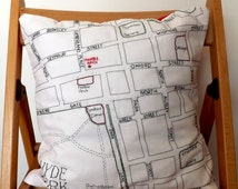 Hyde Park and Marble Arch London Street Map - Embroidered Cushion Cover