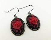 Rose Earrings Red Black Cameo Rose Dangle Earrings Cameo Earrings Gothic Victorian Resin Red Rose Earrings