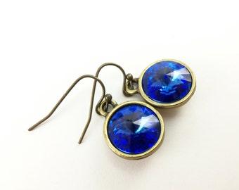 Sapphire Drop Earrings September Birthstone Earrings Crystal Drop Earrings Birthstone Jewelry