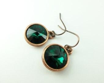 Emerald Copper Earrings Crystal Earrings May Birthstone Earrings Birthstone Jewelry Emerald Dangle Earrings Copper