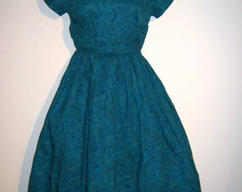 1950's Rockabilly, Full skirt swing dress. Vintage, Blue Paisley.  Bombshell, Pinup, BOHO Hourglass.  Bonnie Blair.