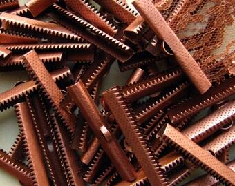 144pcs. 40mm or 1 9/16 inch Antique Copper Ribbon Clamp End Crimps