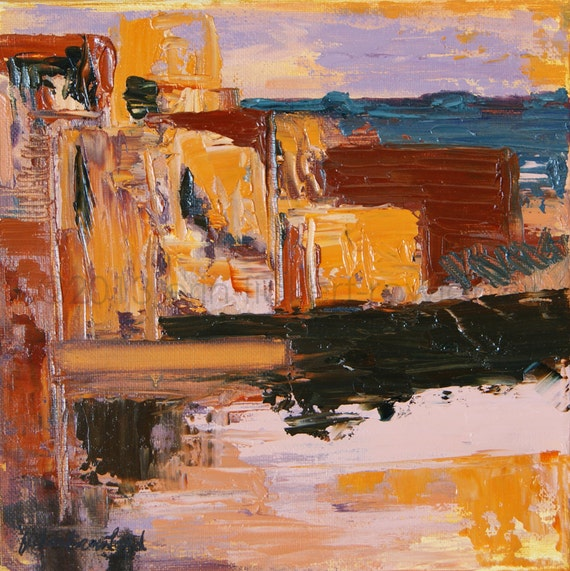 Modern Abstract Southwest Painting-Memories of Mesas- Original Oil On Canvas by Erin Fickert-Rowland