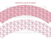 Printable Valentines Hearts Cupcake Wrappers