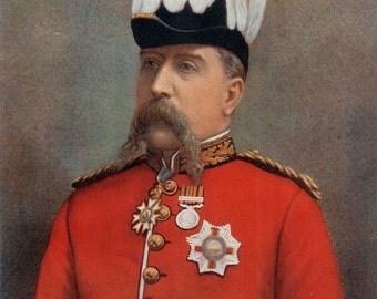 1900, Lieutenant-General Sir Carrington, Large Antique Print, Army 69, Military Moustache, Uniform Commander, Frameable Art