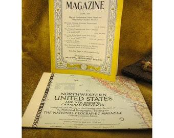 June 1950 Issue National Geographic Magazine with Map of Northwestern United States - Vintage Magazine, Map, Advertising