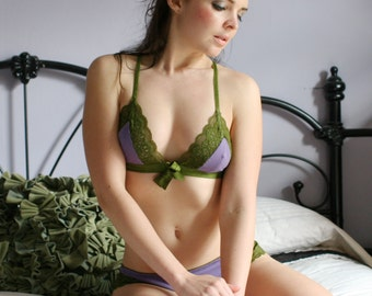 organic cotton bralette with lace trim - CAROUSEL range - made to order