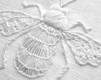 Whitework embroidered Bee - PDF Instructions