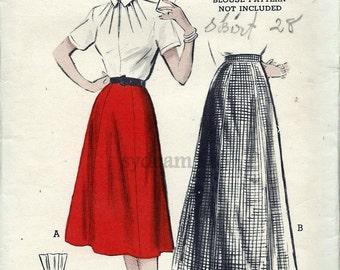 Vintage 1950s Skirt Pattern Six Gored Flared Skirt Day or Evening Length 1952 Butterick 6003 Waist 26 UNCUT