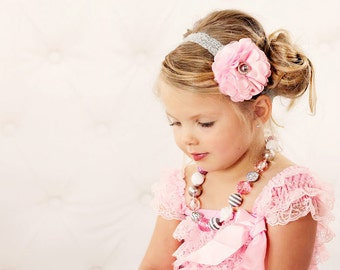 Pink and Gray Satin & Tulle Flower Puff w/ Pearl Stretchy Silver Gray Lace Headband or Hair Clip, Wedding, Baby Toddler Child Girls Headband