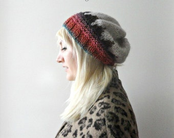 Womens Slouchy Beanie Patterned Knit Beanie Hand Knitted Beanie Zigzag Beanie Brown Red Oatmeal Knit Beanie Hat Winter Fashion Chunky Beanie