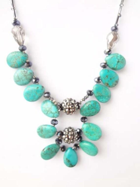 Statement Necklace, Statement Pendant, Turquoise, Chunky, Big, Modern, Contemporary, Large, Margaret Mordzinski