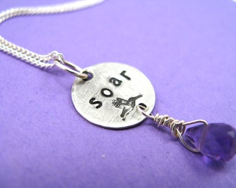Soar - hand-stamped necklace - sterling silver with rich purple amethyst gemstone - inspirational jewelry