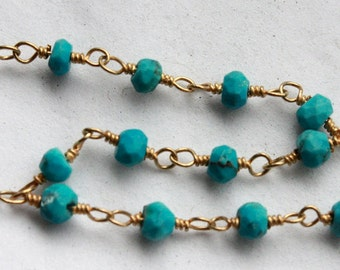18 Inches / 1.5 Feet Hand Cut Turquoise Gemstones on Gold Plated Wire Chain // Hand Wire Wrapped Chain