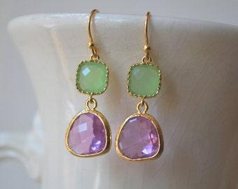 Gorgeous Lavender and Peridot Green Earrings. Drop Earrings. Colorblock Earrings. Bridesmaid Earrings.