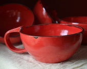 Soup bowl, large with handle, Bright Red Collection, Handmade, Made in Maine