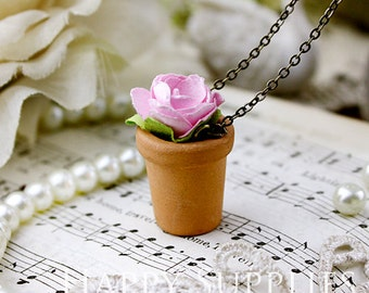 5pcs Mini Clay Pot Planter Charms / Pendants (CPP02)