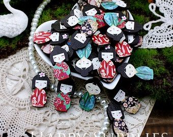10pcs Mini Handmade Colorful Japanese Doll Charms / Pendants (CWD17)